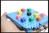 Snap Block - Interlocking Cubes and Building Base - Constructive Building Block Toy with Patterns