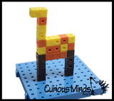 CLEARANCE - SALE - Snap Block - Interlocking Cubes and Building Base - Constructive Building Block Toy with Patterns
