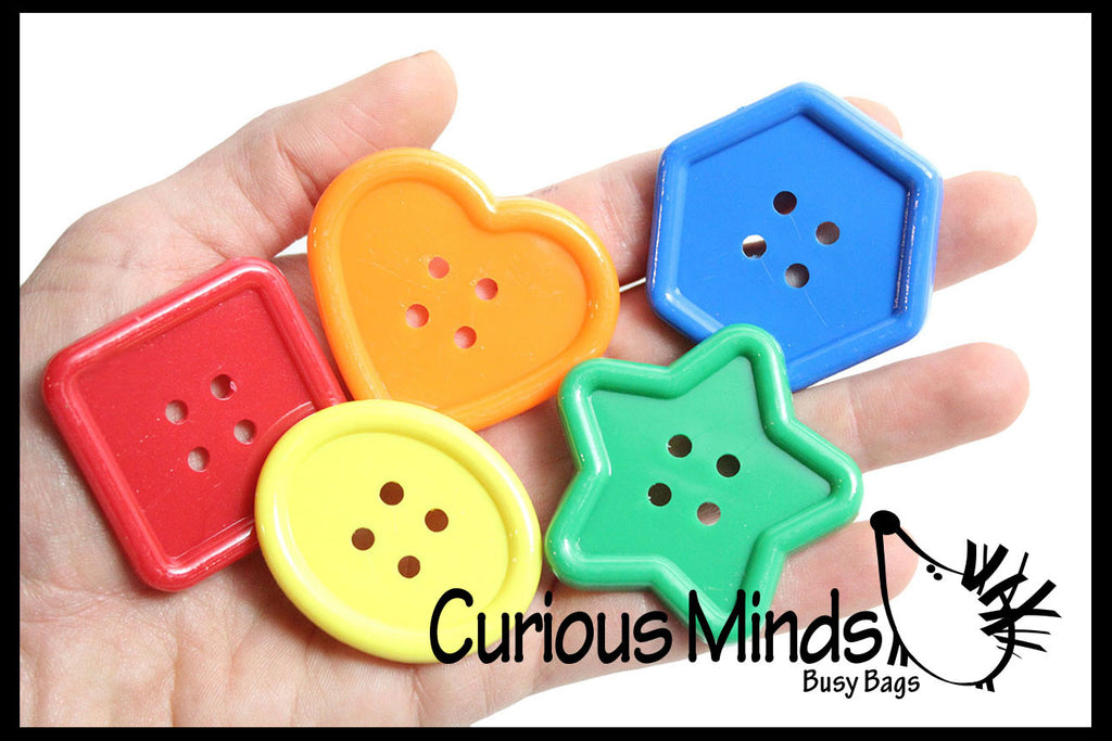 "Set of 30 Large Buttons1-3/4"" - Perfect color and shape sorting manipulative"