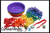 Preschool and Toddler Color Sorting Set with Sorting Bowls and Animal Counters and Dice - Learning Game
