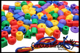 100 Large Colorful Beads in 6 colors and Shapes