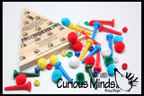 Color Matching Peg Game - Wooden Solitaire Peg Game with Matching Poms and Beads Classic Game