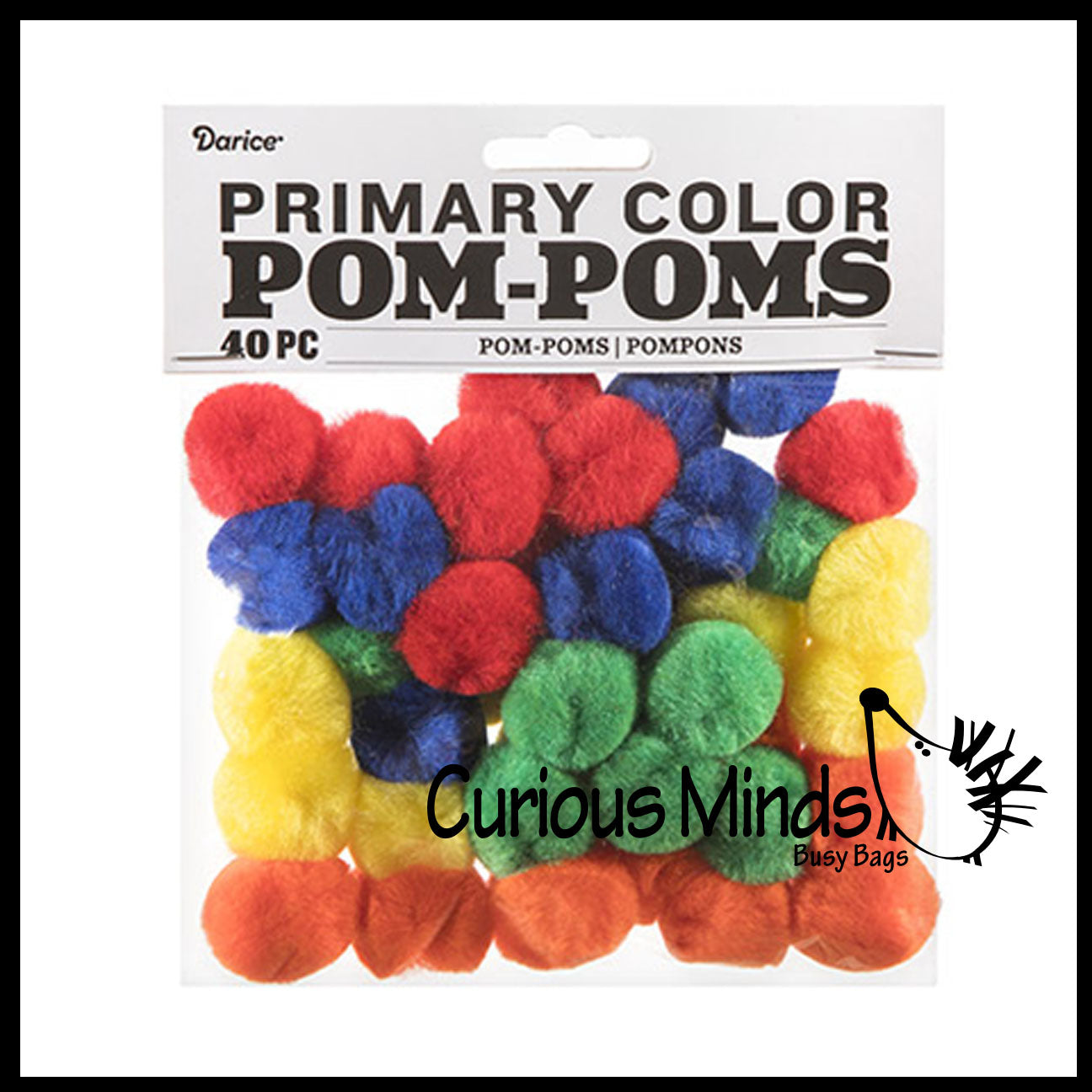 "1"" Primary Color Sorting Pom Poms - 40 Pack"