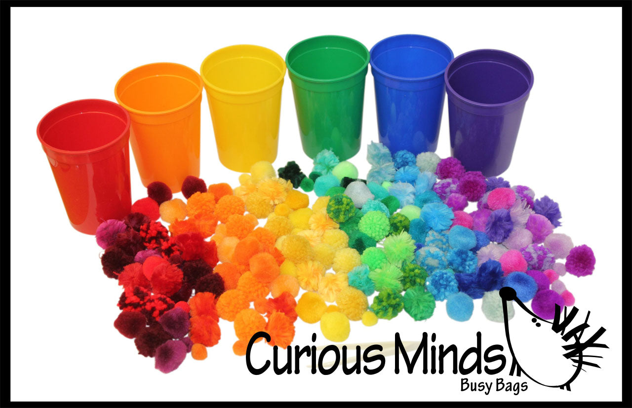 Color Sorting Cups and Pom Poms to Sort - Color Scale Variations