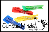 Busy Bag:  Color sorting colored clips to squares or sticks