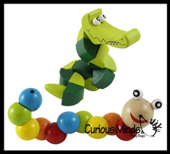 2 Cute Wood Twisty Fidget Toys - Caterpillar and Alligator Crocodile Fidget Toy - Wooden Hand Fidgets - Cute Animal Twisty Turn Toy