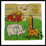 Cube Wood Puzzle - 6 Different Pictures with 9 Blocks - 6 in 1 Puzzle