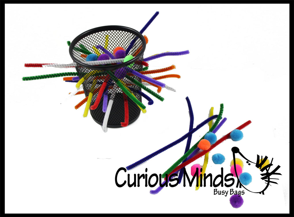 Wire Cup with Pipe Cleaners and Poms - Fun Fine Motor Busy Bags Learning Toy