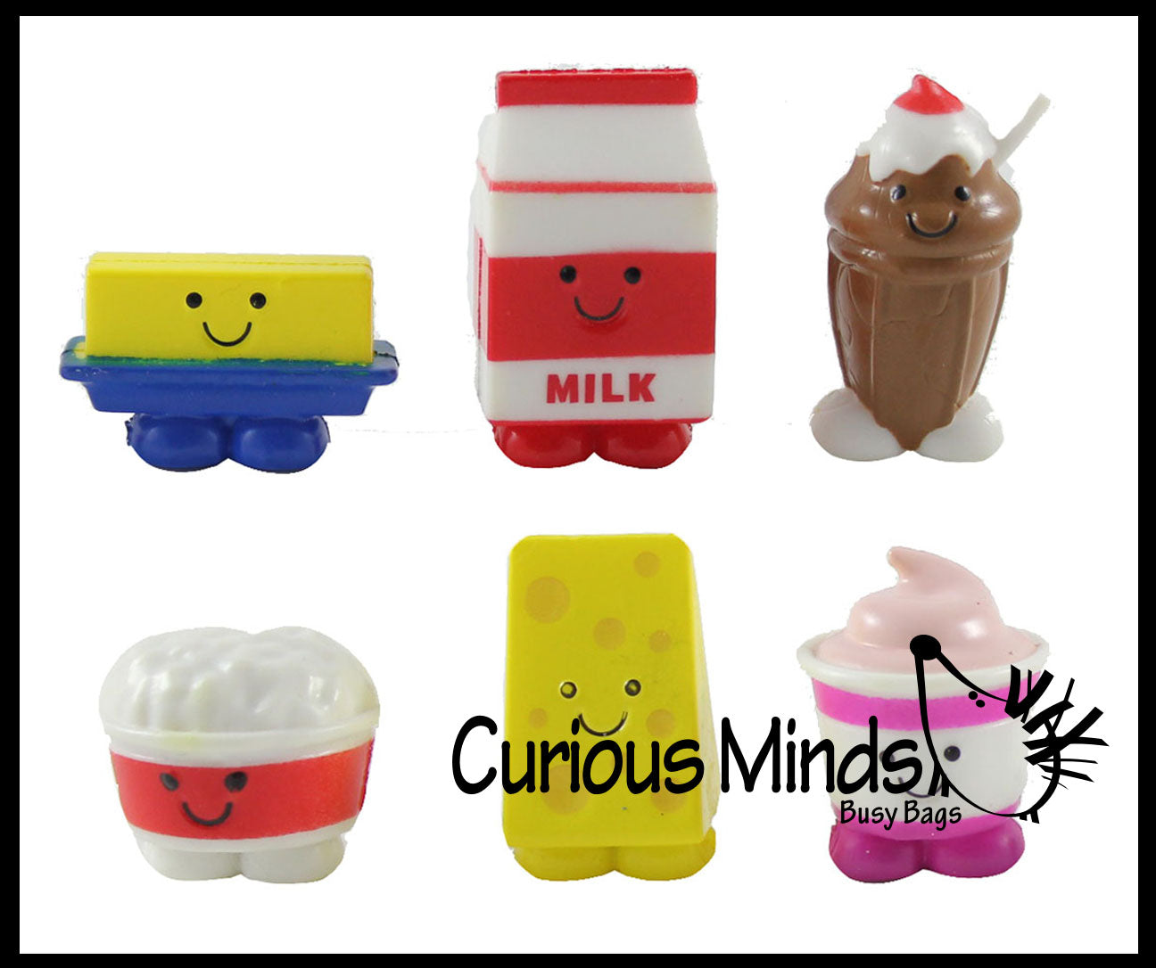 Cute Dairy Food Mini Toy Figurines Replicas - Math Counters, Sorting or Alphabet Objects, Playsets