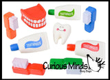 Dental Theme Squishy Assortment - Slow Rise Tooth, Toothpaste, Gums, Toothbrush -  Sensory, Stress, Fidget Toy