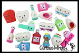 Cute Dental Vinyl Figures - Teeth, Braces, Toothbrush, Toothpaste, Mouthwash, Floss, Tooth Fairy -  Party Favor Toy - Dentist Orthodontist Hygienist Treasure Prize