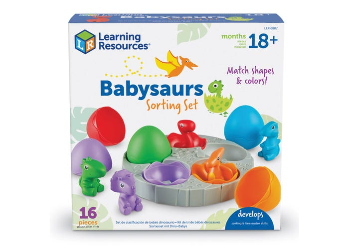 Dinosaur Egg Babysaurs Set - Early Math Color and Shape Sort Activity - Dinosaur Learning Resources
