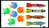 Bundle 10 Fish & Shark Pool Dive Toys - Pool, Beach and Bath Toy Dives - Sinking and Gliding - Throw Underwater