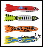 Torpedo Shark/Fish Pool Dive Toys - Pool, Beach and Bath Toy Dives - Sinking and Gliding - Throw Underwater