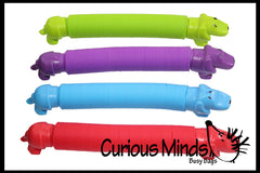 Weiner Dog Pull and Pop Snap Expanding Flexible Accordion Tube Toy - Free Play - Open Ended Fidget Toy