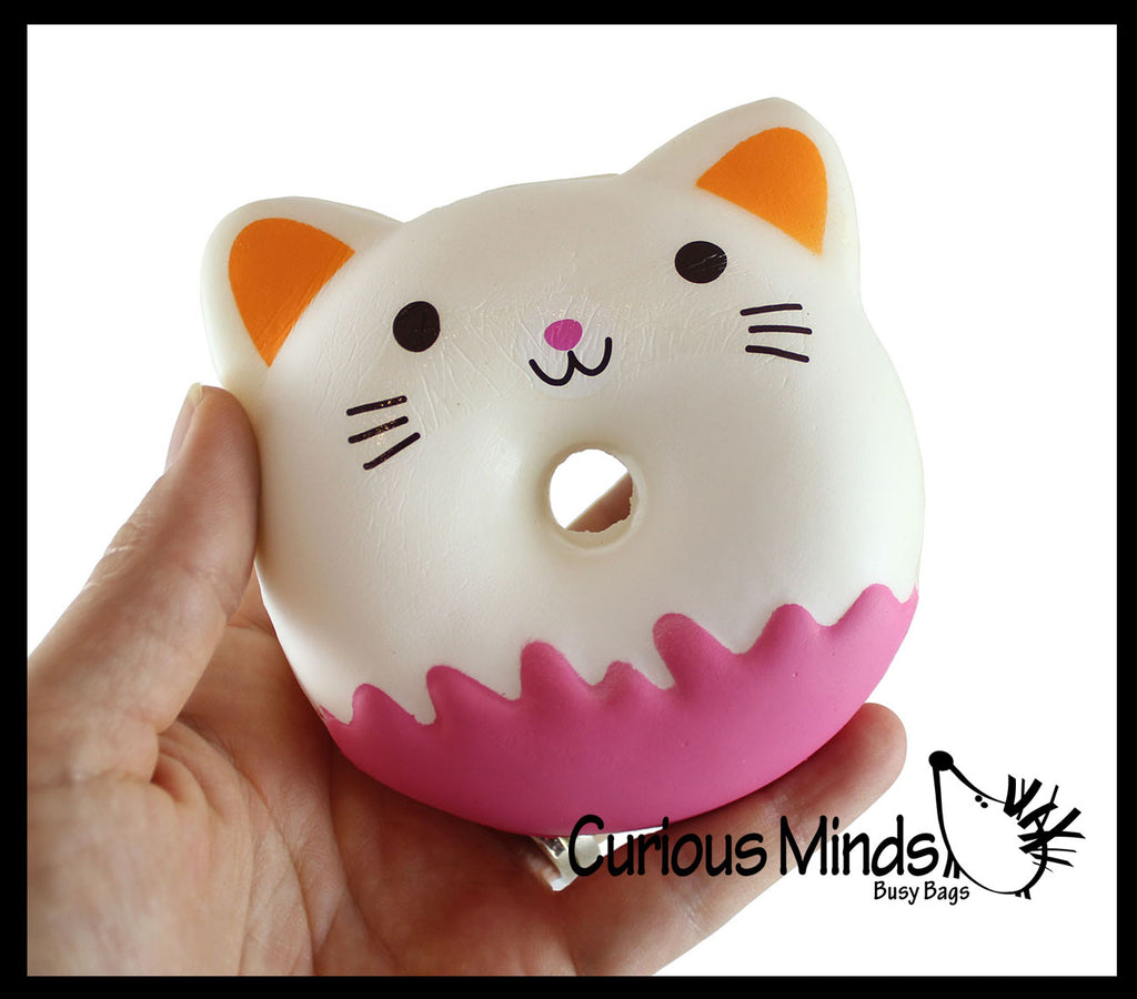 Donut Cat Squishy Slow Rise Foam -  Scented Sensory, Stress, Fidget Toy Doughnut Kitty