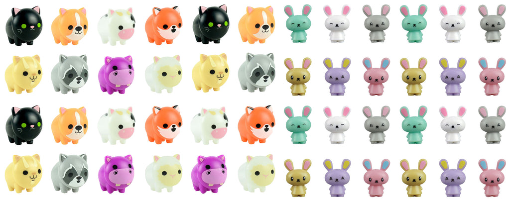 48 Piece Animal Figurine Set - Easter Egg Eraser Filler Set - Small Toy Prize Assortment Egg Hunt (4 DOZEN)