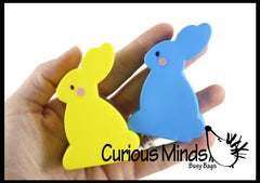 Cute Flat Squishy Slow Rise Bunny -  Scented Sensory, Stress, Fidget Toy - Easter Rabbit