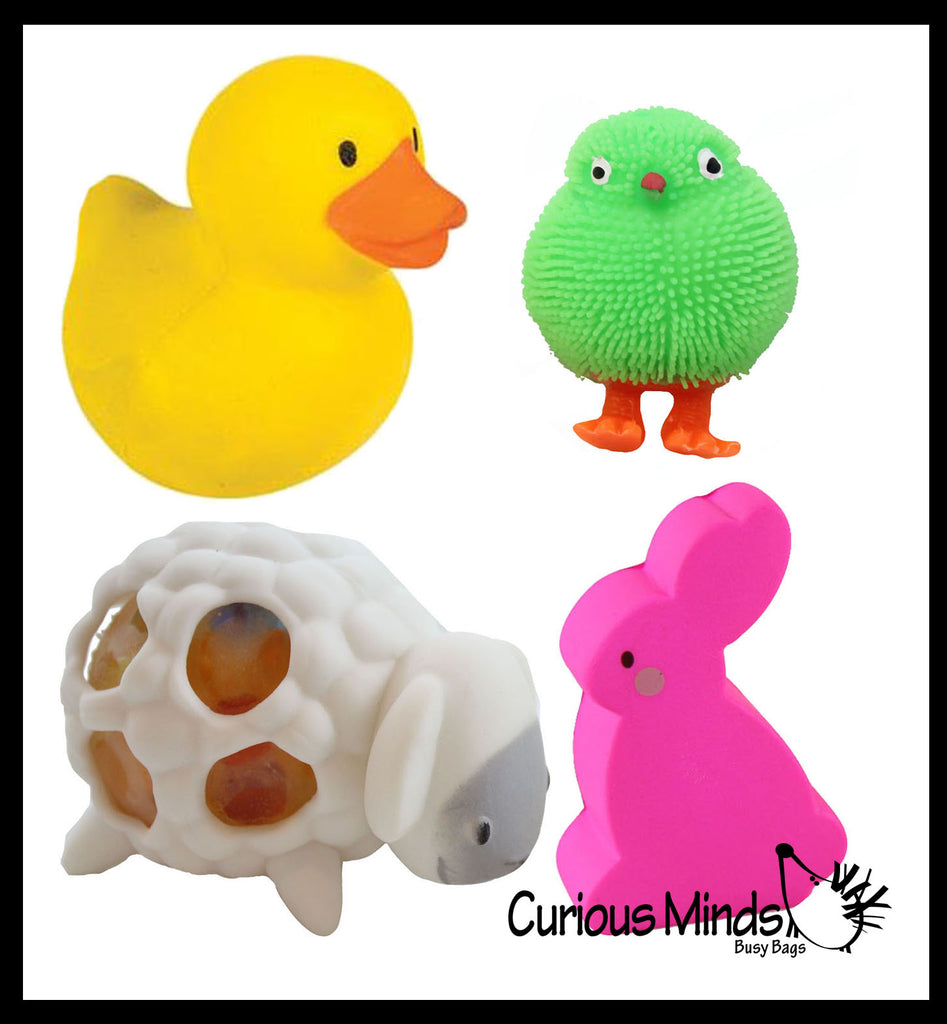 Set of 4 - Easter Animal Set -  Slow Rise Duck, Bunny, Puffer Chick, and Squeeze Sheep.  Scented Sensory, Stress, Fidget Toy - Easter