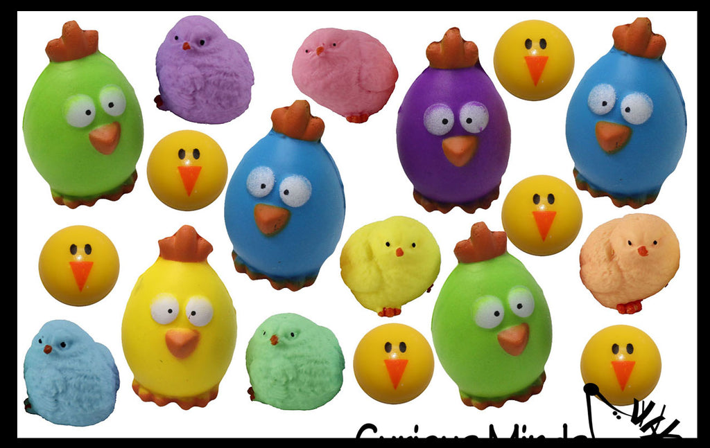 Set of 60 Chick Theme Easter Egg Filler Set - Small Toy Prize Assortment Egg Hunt Chicken Lover (5 DOZEN)