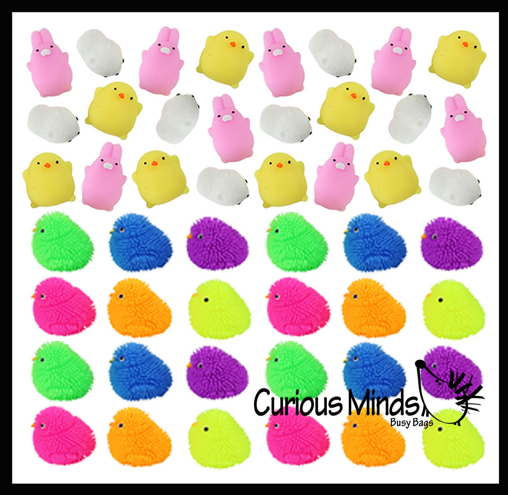48 Easter Mochi and Puffer Set - Chick Bunny Lamb Themed Mochi Squishy Animals - Kawaii -  Sensory, Stress, Fidget Party Favor Toy (4 Dozen)
