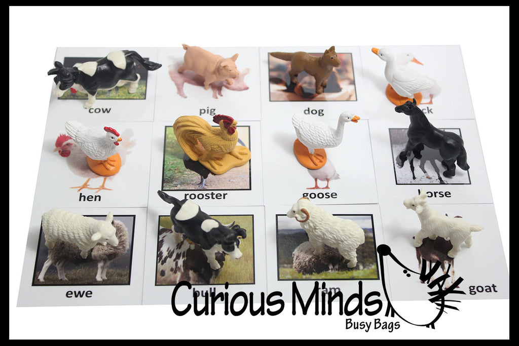 Montessori Animal Match - Miniature Animals with Matching Cards - 2 Part Cards.  Montessori learning toy, language materials - Farm Animals