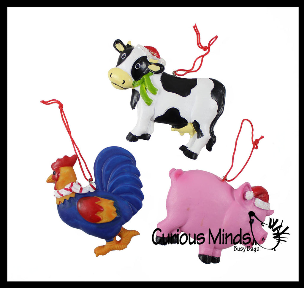 Cute Farm Animal Christmas Ornaments for Tree -  Christmas Holiday Decorations