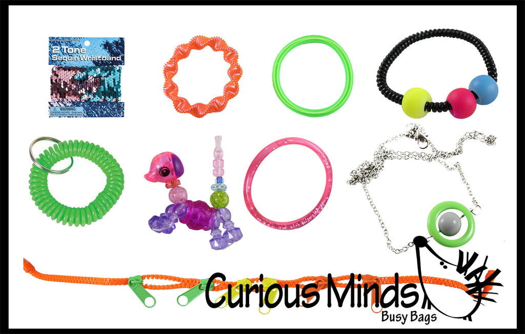 CLEARANCE - SALE - Fidget Jewelry Bundle - Set of 9  - Discreet Bracelets and Necklaces That Can Be Fidgeted With