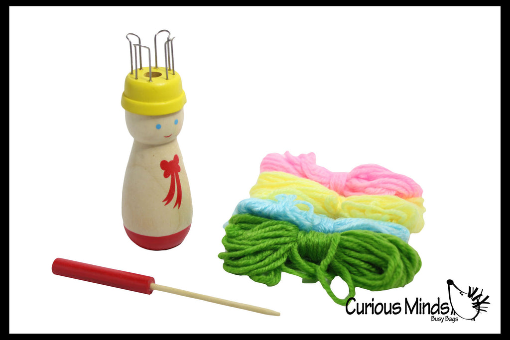 z discontinued - Children's Wood Spool Knitter (French knitter) Wooden Knitting Doll