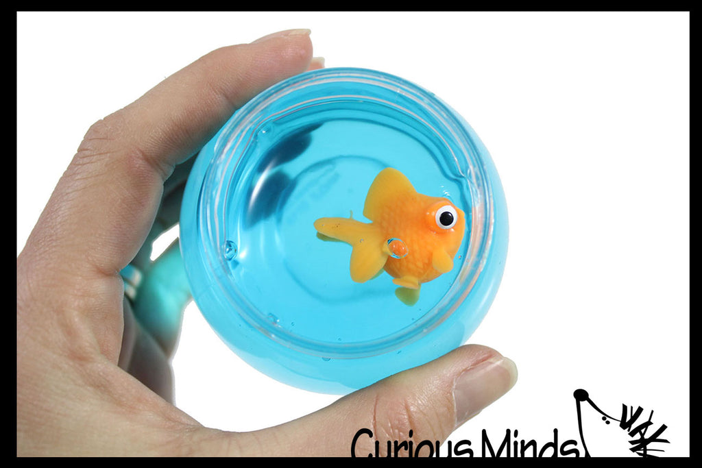 Goldfish Slime Bowl - Blue Slime with Mini Fish Figurine -  Cute Pet putty/dough/slime