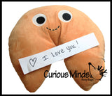 Jumbo Plush Fortune Cookie Stuffy Valentine with Zipper to hold a Personalized Note - Cute Unique Valentines Day Gift for Boyfriend or Girlfriend