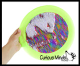Flying Disc Lap Pad with Mermaid 2 Color Reversible Sequin Scales - Sensory Fidget Toy.