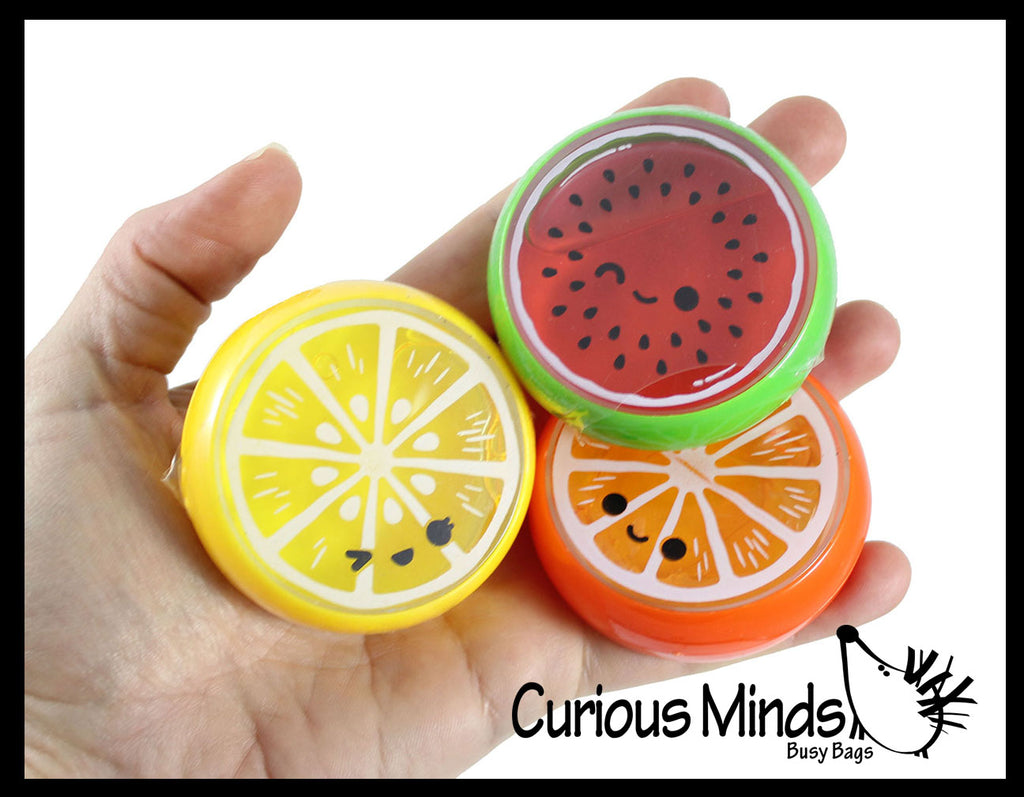 Fruit Putty - Fun Slime in Sweet Fruit Slice Container - Summer - Putty - Goo Party Favor Prize