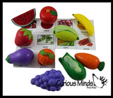Fruits & Vegetable Match - Healthy Food with Matching Cards - 2 Part Cards.  Montessori learning toy, language materials - Large Food Objects
