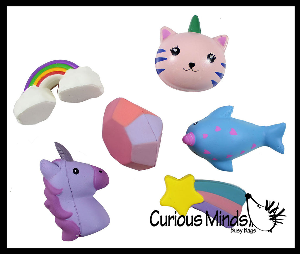 Girly Magical Theme Squishy Slow Rise Foam -  Scented Sensory, Stress, Fidget Toy - Unicorn, Narwhal, Cat, Diamond, Star, Rainbow
