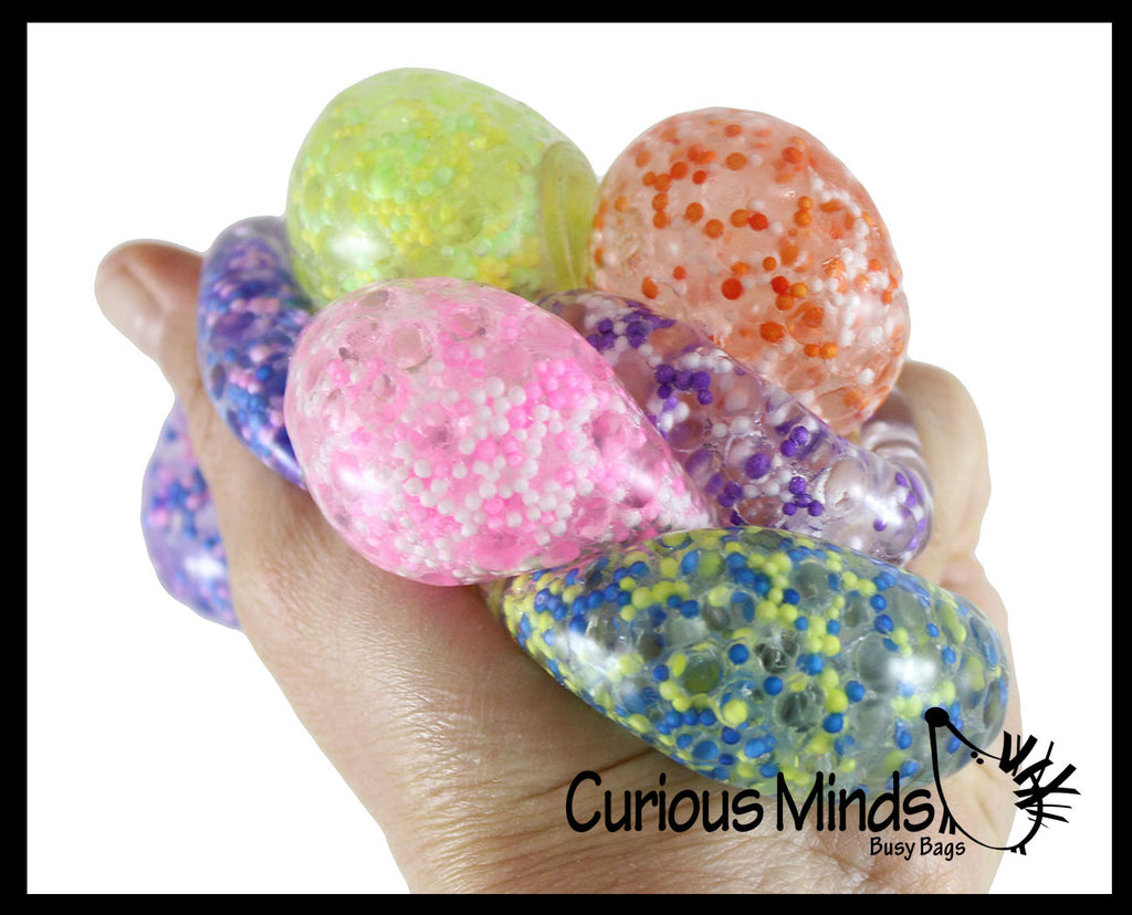 "Small Amazing 1.5"" Confetti Bead with Thick Gel Mold-able Stress Ball - Ceiling Sticky Glob Balls - Squishy Gooey Shape-able Squish Sensory Squeeze Balls"