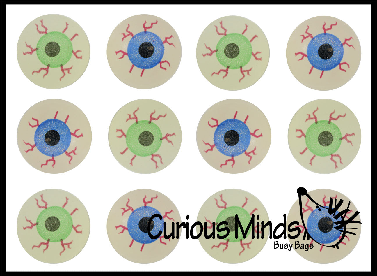 Eye Glow in The Dark Super Bouncy Balls - Spooky Eyeball Novelty Party Favor Toy Halloween, ophthalmologist, Optometry Anatomy