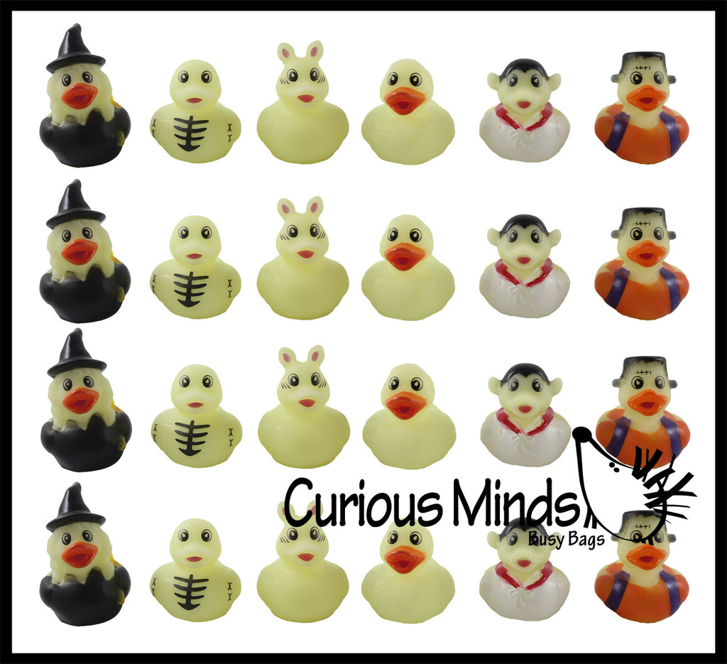 CLEARANCE - SALE -  Halloween Theme Rubber Duckies - Glow in the Dark Spooky Duck for Party or Trick or Treat