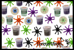 144 Piece Halloween Party Favor Set - Witches Potion Slime, Spider Tops, Glow Eyeball Bouncy Balls , Small Novelty Toy Prize Assortment Gifts (15 Dozen)