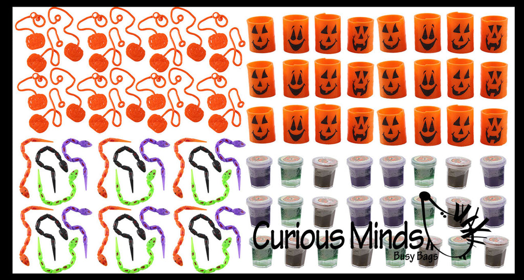 96 Piece Halloween Party Favor Set - Witches Potion Slime, Jointed Snakes, Pumpkin Springs, Sticky Pumpkins, Small Novelty Toy Prize Assortment Gifts (8 Dozen)
