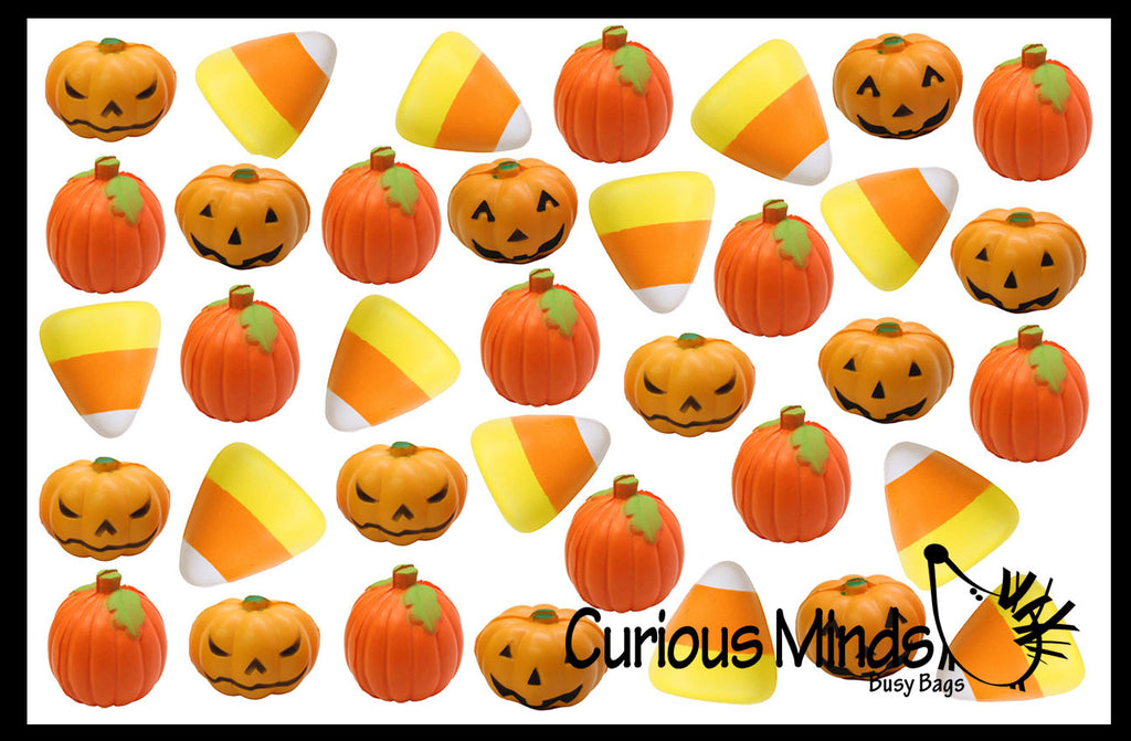 Halloween Stress Ball Set - Pumpkin, Jack-o-Lantern, Candy Corn Party Favor , Small Novelty Toy Prize Assortment Gifts