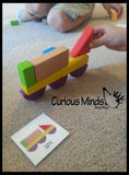 Wooden Block Patterns - Create Animals and Vehicles with Colorful Organic Building Blocks