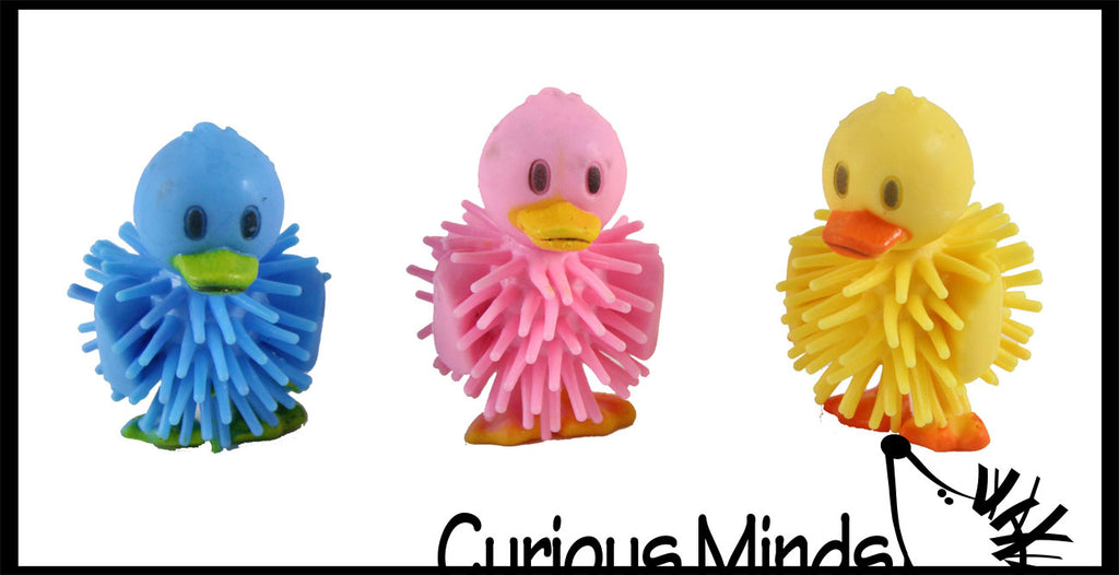 CLEARANCE SALE - Hedge Duck Balls - Wooly Porcupine Ball Characters - Easter Egg Filler - Small Novelty Prize Toy - Party Favors - Gift - Bulk 1 Dozen