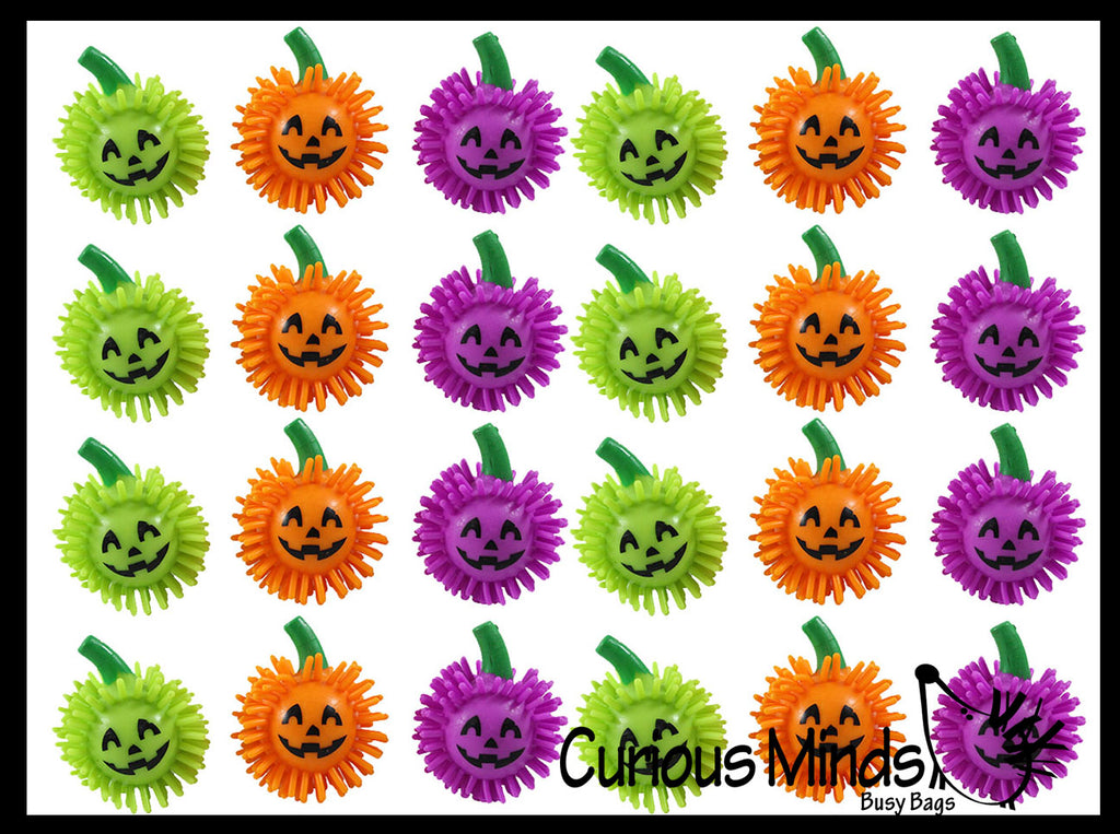 Pumpkin Hedge Balls -  Spiky Wooly Porcupine Balls - Sensory Novelty Toy Halloween Jack-O-Lantern Party Favor
