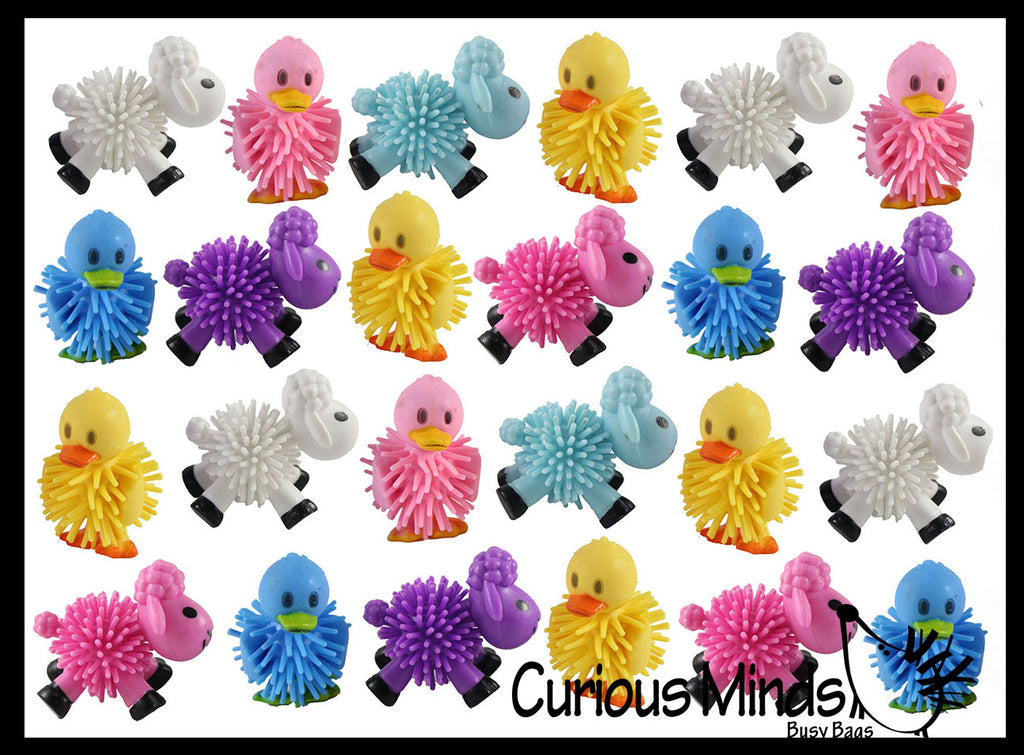 24 Hedge Sheep and Duck Balls - Wooly Porcupine Ball Characters - Easter Egg Filler - Small Novelty Prize Toy - Party Favors - Gift - Bulk (2 Dozen)