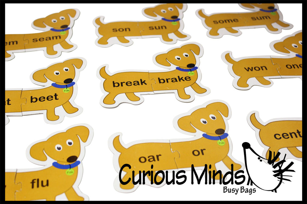 CLEARANCE SALE - Homophone Dogs Matching Puzzle - Language Arts Teacher Supply - Different Meanings