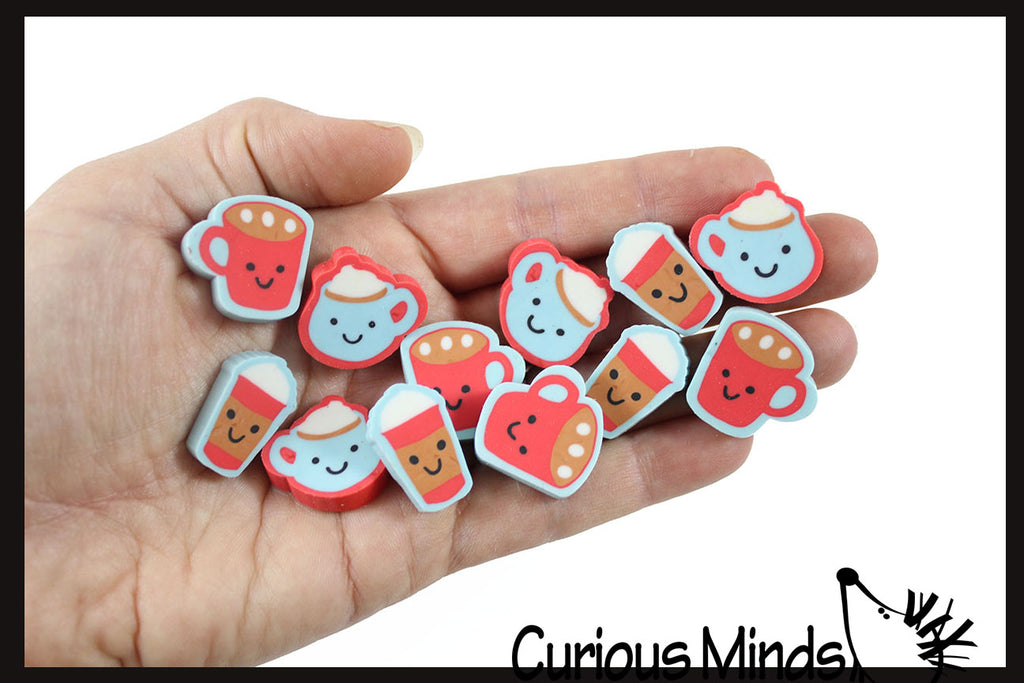 12 Adorable Hot Chocolate / Latte Coffee Warm Drink Mini Erasers - Novelty and Functional Adorable Eraser Novelty Treasure Prize, School Classroom Supply, Math Counters - Sorting - Party Favor