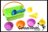 Ice Cream Bucket Sand Toy - Cones, cups and scoop.  Fun in Sandbox or with Play Doh