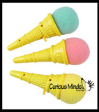 Small Ice Cream Cone Shooter Popper Toy - Foam Ball Shoots From Cone - Launcher Novelty Toy