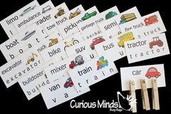 PDF Word Cards - House, Pets, Zoo, Bugs, Cars and trucks, Sealife, School, Food, Farm, clothing, body